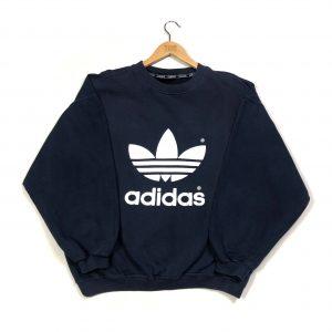 vintage 90s adidas oversized navy sweatshirt with printed trefoil logo