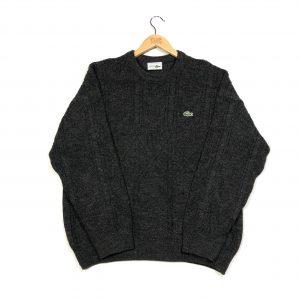 vintage lacoste essential grey ribbed knit jumper