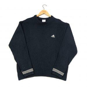 vintage adidas essential navy ribbed knit jumper