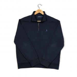 vintage ralph lauren navy quarter-zip sweatshirt