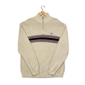 vintage fred perry beige quarter-zip sweatshirt