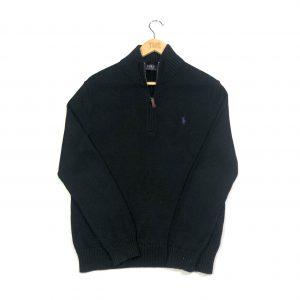 vintage ralph lauren essential black quarter-zip knit jumper