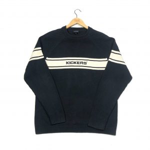 vintage kickers embroidered centre logo navy knit jumper