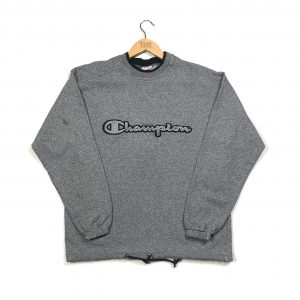 vintage champion embroidered spell out grey sweatshirt