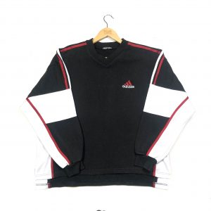 vintage adidas 3-stripes oversized black sweatshirt essential logo