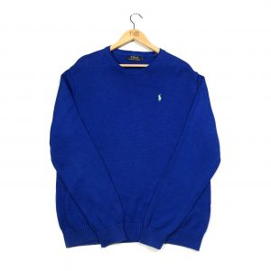 vintage ralph lauren neon pony logo blue knit jumper