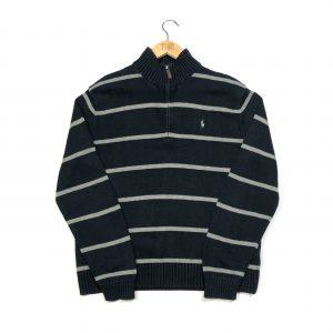 vintage ralph lauren striped knit quarter-zip jumper