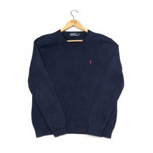vintage ralph lauren navy knit jumper