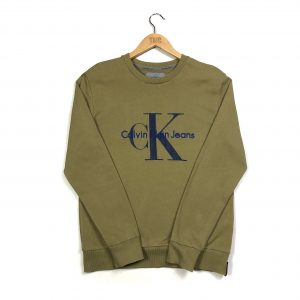 vintage calvin klein embroidered CK khaki sweatshirt