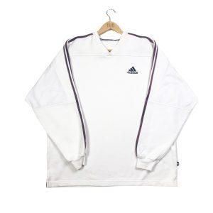 vintage adidas essential logo 3-stripes white sweatshirt
