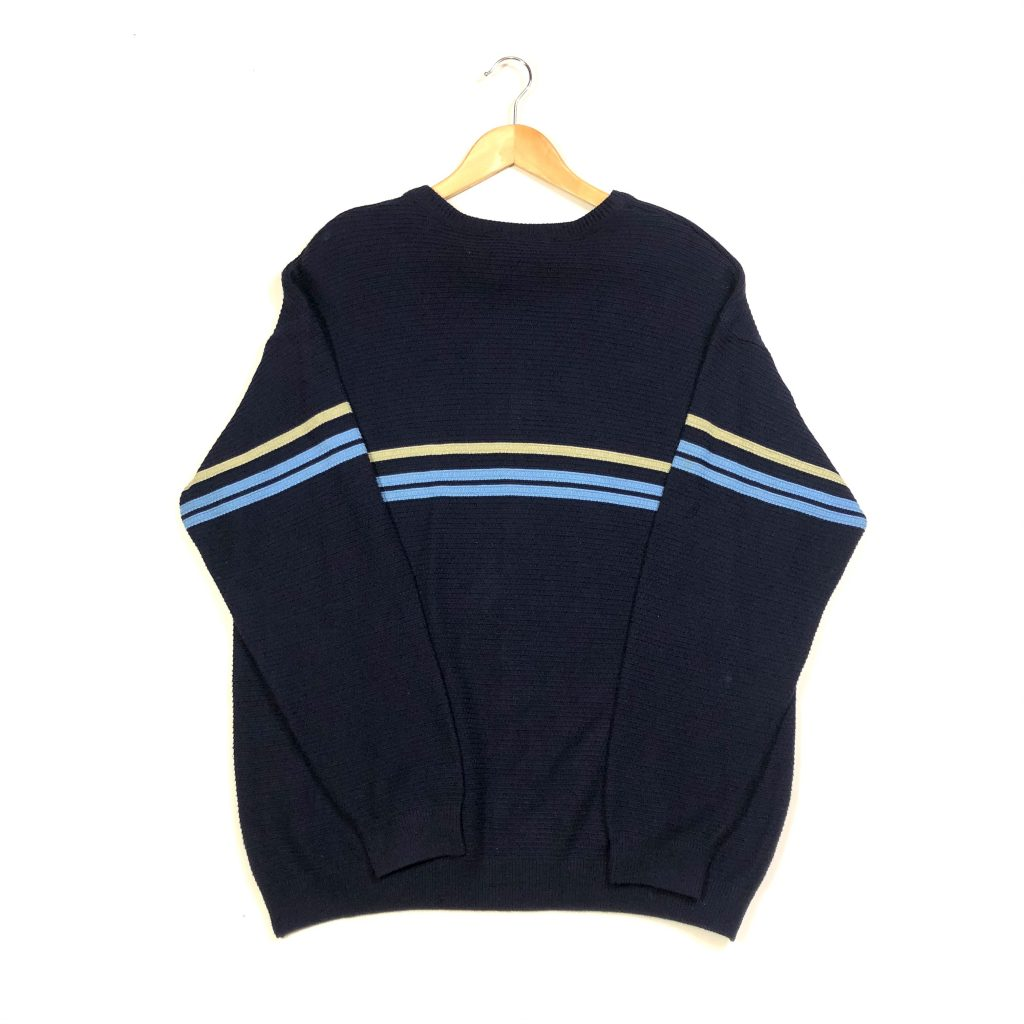 vintage lacoste essential striped navy knit jumper