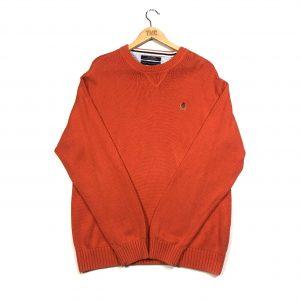 vintage tommy hilfiger orange crest logo knit jumper