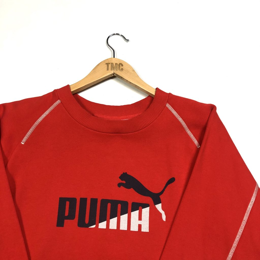 vintage puma red spell out logo sweatshirt