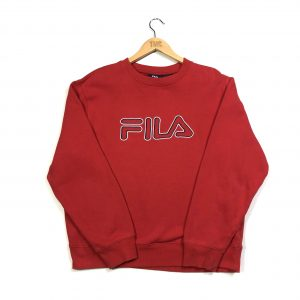 fila embroidered red spell out logo vintage sweatshirt