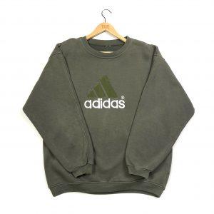 vintage adidas embroidered big logo khaki sweatshirt
