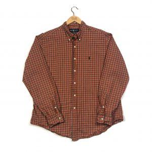 vintage ralph lauren orange classic fit button up checked shirt