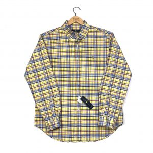 vintage ralph lauren yellow checked plaid shirt with multicoloured pony logo