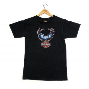 vintage harley-davidson eagle printed black t-shirt