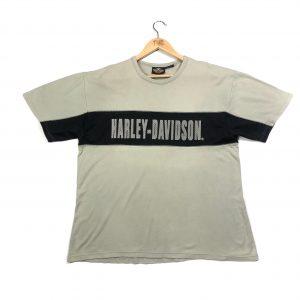 vintage harley-davidson beige printed spell out t-shirt