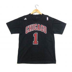 vintage adidas usa nba chicago bulls printed back black t-shirt