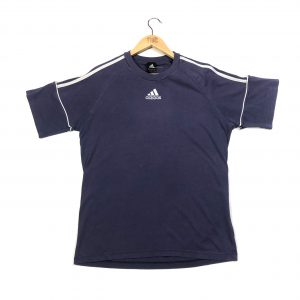vintage adidas centre logo 3 stripes navy t-shirt