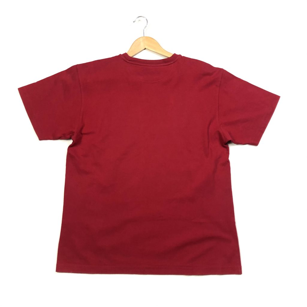 vintage champion spell out script logo red t-shirt