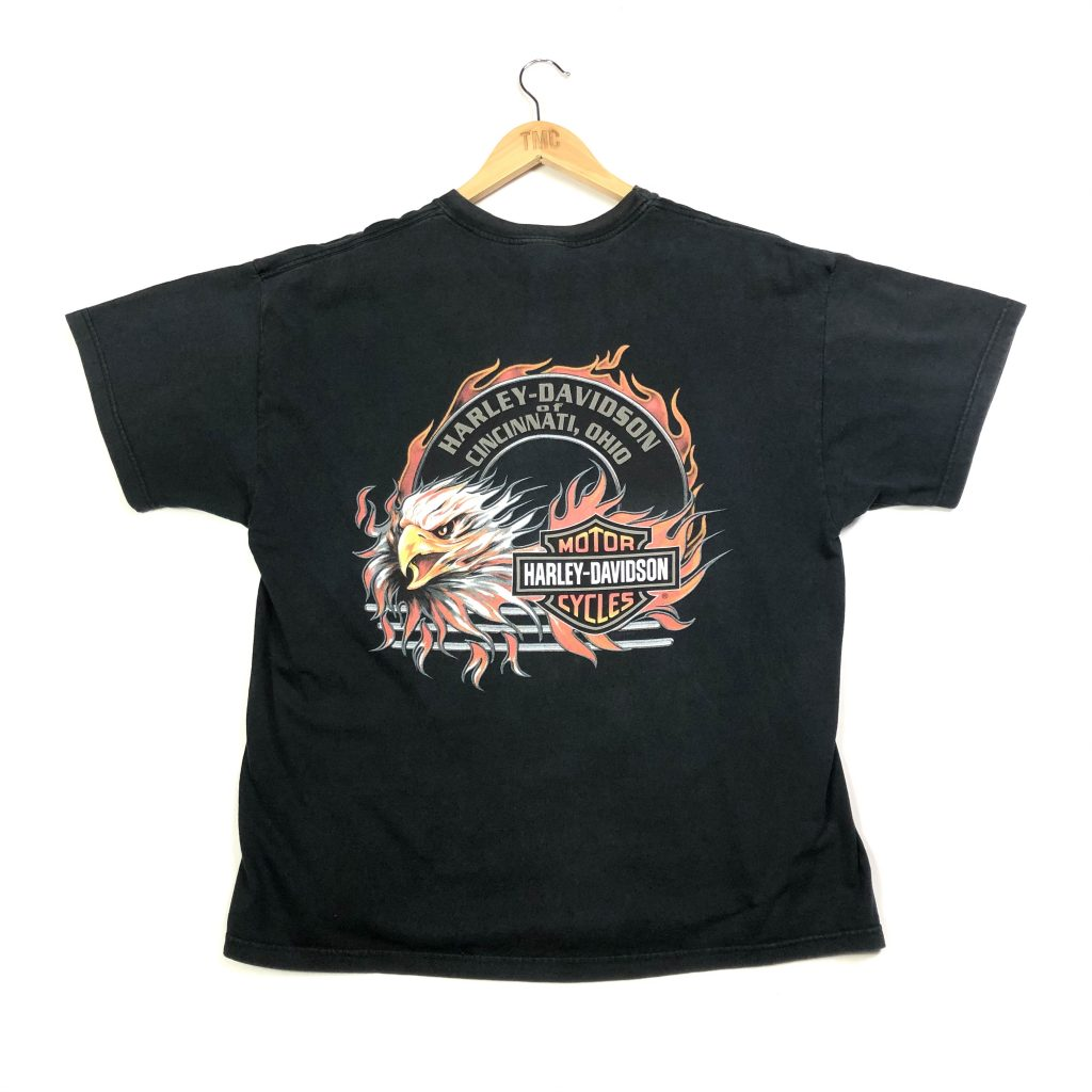 vintage harley-davidson eagle printed back black t-shirt