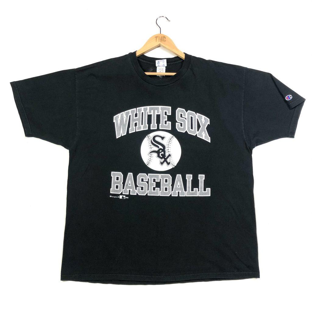 vintage champion usa mlb white sox graphic black t-shirt