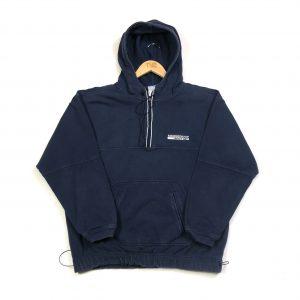 vintage reebok quarter-zip navy hoodie