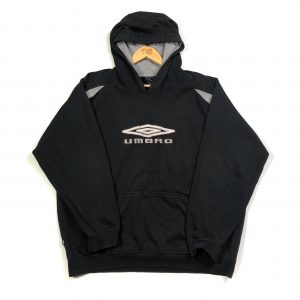 vintage umbro embroidered spell out logo black hoodie