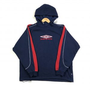 vintage umbro embroidered spell out logo navy hoodie