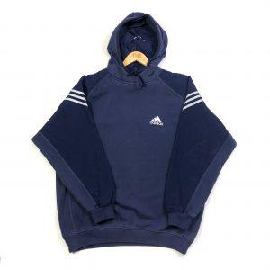 vintage clothing adidas navy 3-stripes essential hoodie