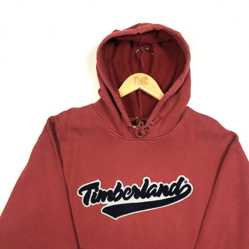 vintage timberland brand fluffy textured logo red hoodie