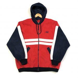 vintage helly hansen red zip up fleece hoodie