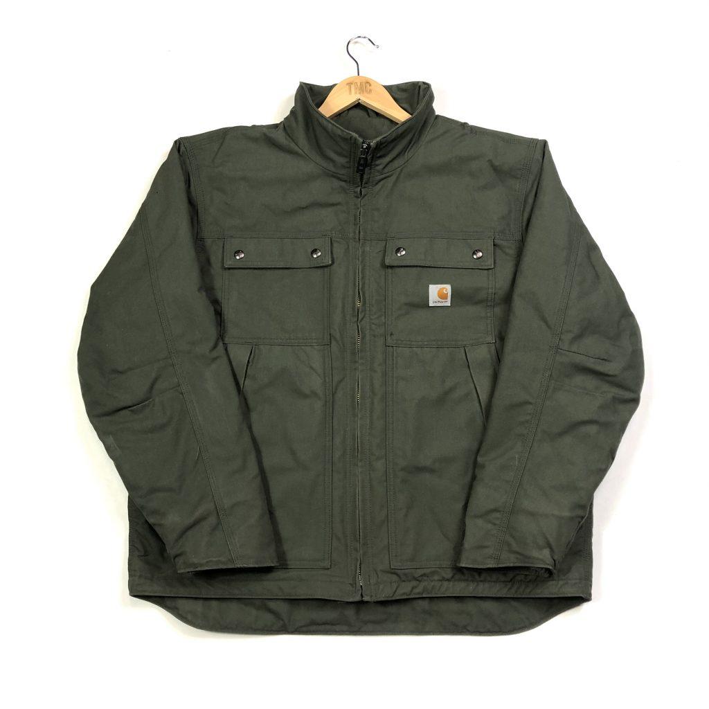 vintage carhartt khaki zip up jacket