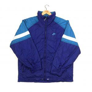 vintage 80s nike blue track jacket and embroidered swoosh logo