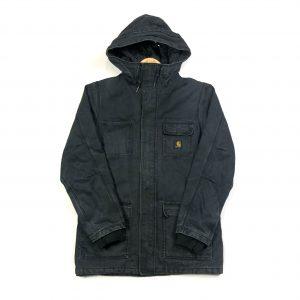 vintage charhatt black workwear hooded parka jacket