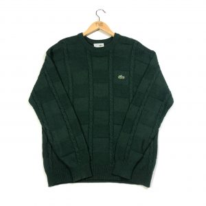 vintage lacoste green cable knit jumper with crocodile logo