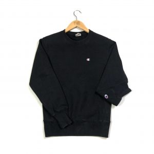 vintage champion reverse weave c logo black sweatshirt