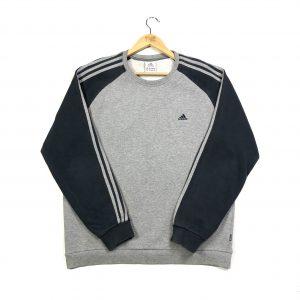 vintage adidas 3-stripes essential logo grey sweatshirt