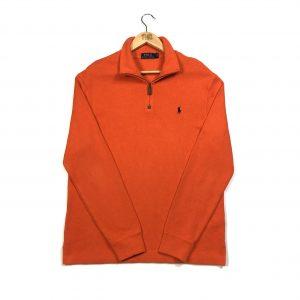 vintage ralph lauren orange quarter-zip sweatshirt