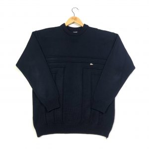 vintage clothing lacoste navy knitted panel jumper