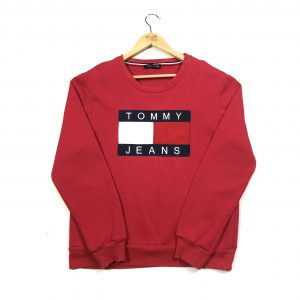 vintage clothing tommy hilfiger red embroidered sweatshirt