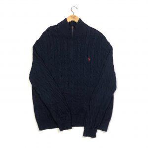 vintage ralph lauren navy cable knit quarter-zip jumper