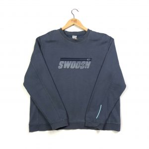 vintage nike embroidered swoosh spell out blue sweasthirt