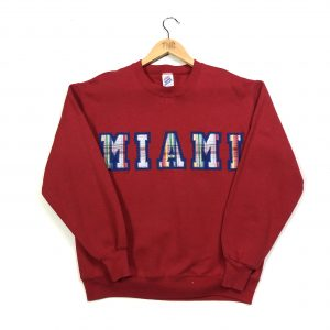 vintage miami embroidered spell out american sweatshirt