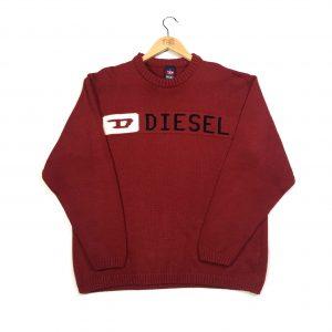 vintage clothing diesel red knit jumper
