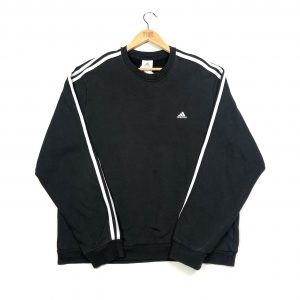 vintage clothing adidas 3-stripes embroidered black sweatshirt
