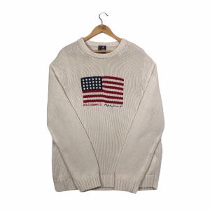 vintage ralph lauren usa american flag beige knit jumper