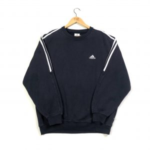 vintage adidas essential logo 3-stripes navy sweatshirt